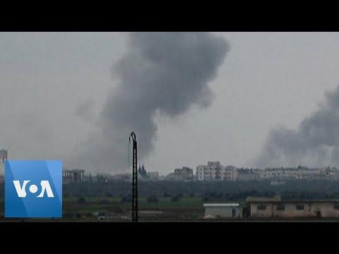 Airstrikes Pound Syria's Sarmin, in Idlib Province