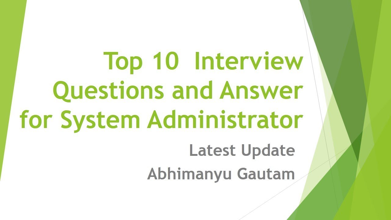 system administrator interview questions