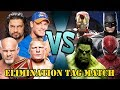 Brock Lesnar, Reigns, John Cena & Goldberg vs Hulk, Spider-Man, Batman & Iron-Man (Elimination Tag)