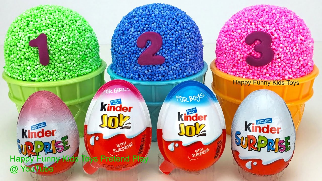Play Foam Ice Cream Cups and Kinder Surprise Eggs Shopkins Surprise Toys