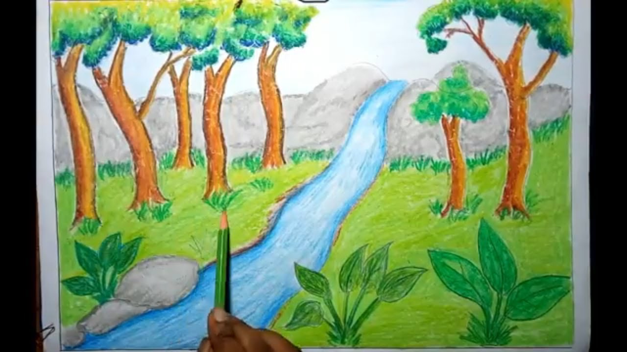 How To Draw Rainforest Jungle Scenery For Kids Step By Step Easy