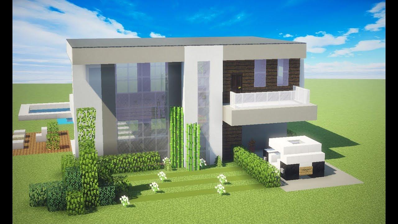 Minecraft tutorial casa moderna 422 manyacraft youtube for Casa moderna tutorial minecraft