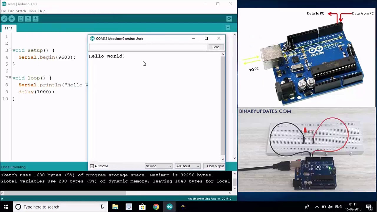 Arduino Serial Communication using UART