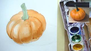 How to draw and paint a pumpkin with watercolors - adding shadows and highlights for beginners