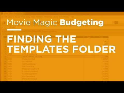 Movie Magic Budgeting - Finding the Templates Folder