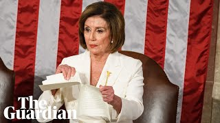 Nancy Pelosi appears to prepare in advance to rip up Trump's speech The US House speaker seemed to make a small tear in some pages of the text of Donald Trump's State of the Nation address almost an hour before she ..., From YouTubeVideos