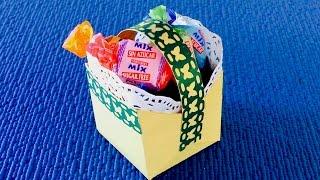 Корзинка со сладостями. Поделка из бумаги своими руками
