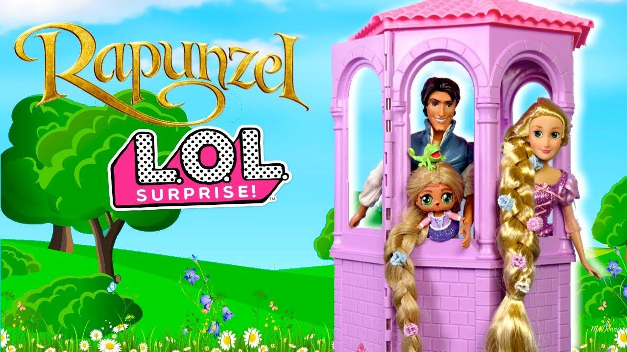 Barbie Doll LOL Rapunzel Family Tower Playdate with Disney Aladdin LOL  Family - YouTube