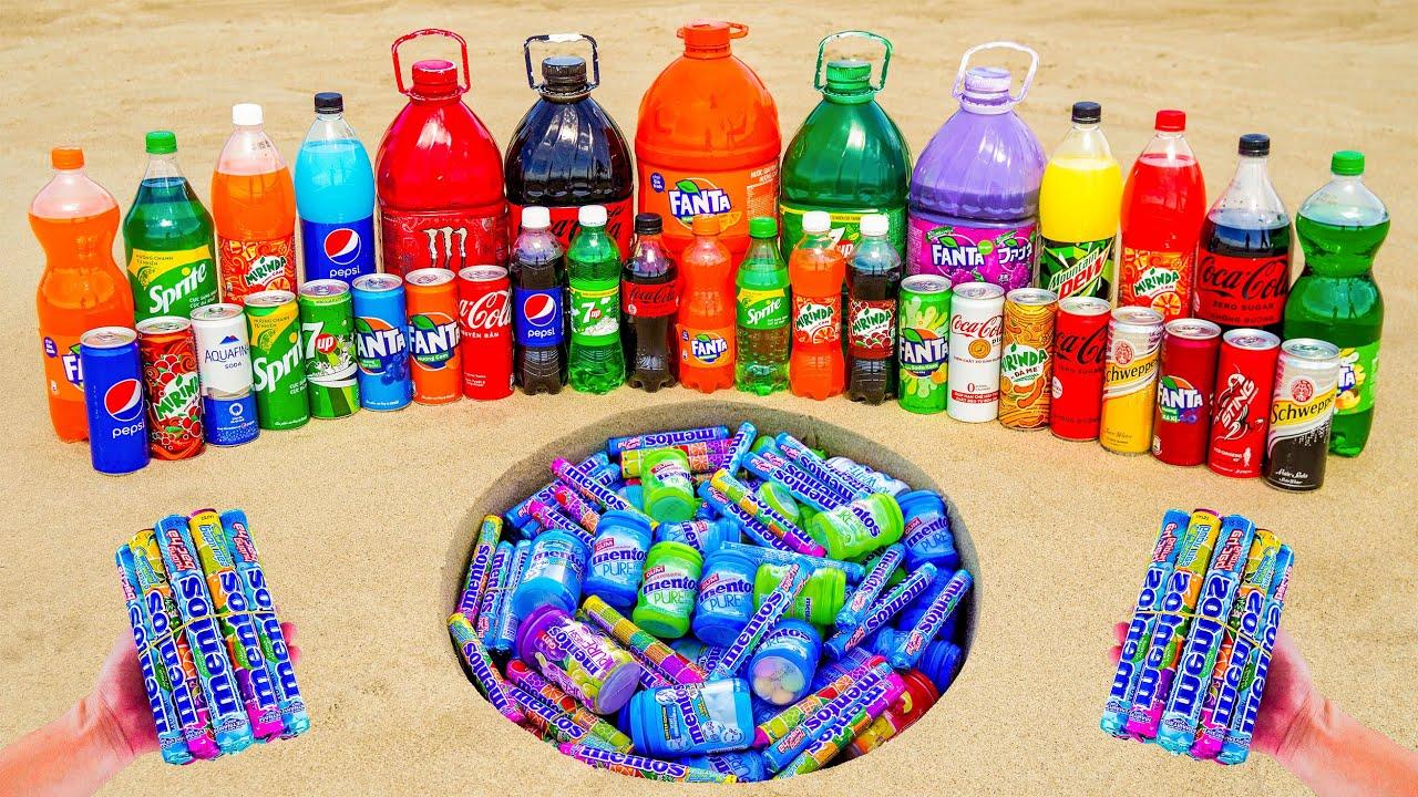 EXPERIMENT:  Big Fanta, Coca-Cola, 7up, Monster, Mirinda, Pepsi vs Soda and Mentos