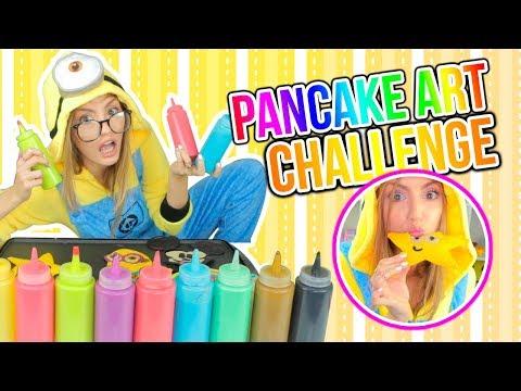 ¡DIBUJOS QUE SE COMEN! Edición: MINIONS! PANCAKE ART CHALLENGE | Katie Angel