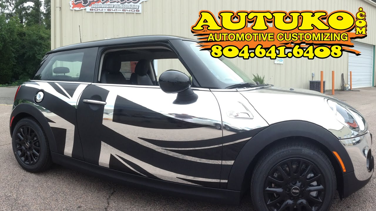 mini cooper car wrap with chrome and union jack by autuko. Black Bedroom Furniture Sets. Home Design Ideas