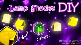 DIY Paper Lamp Shades For String Lights - How To Make Origami Cubes Lamp Shades