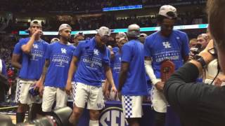 Kentucky accepts the 2017 SEC Tournament trophy