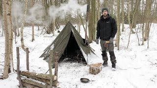 3 Day Solo Winter Snow Camp - Bushcraft, Canvas Tent, Woodstove, Bowdrill