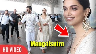 Deepika Padukone With Mangalsutra | Ranveer & Deepika Leaving For Bangalore Reception