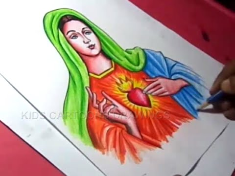 How to draw goddess mary matha color drawing step by step for kids