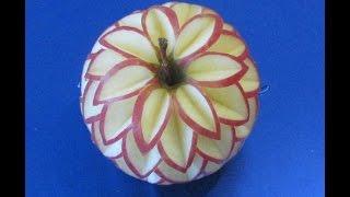 Hướng dẫn cách tỉa nghệ thuật từ Táo- Carving Flowes Apple-Blume schnitzen aus Apfel-從水果雕花l-
