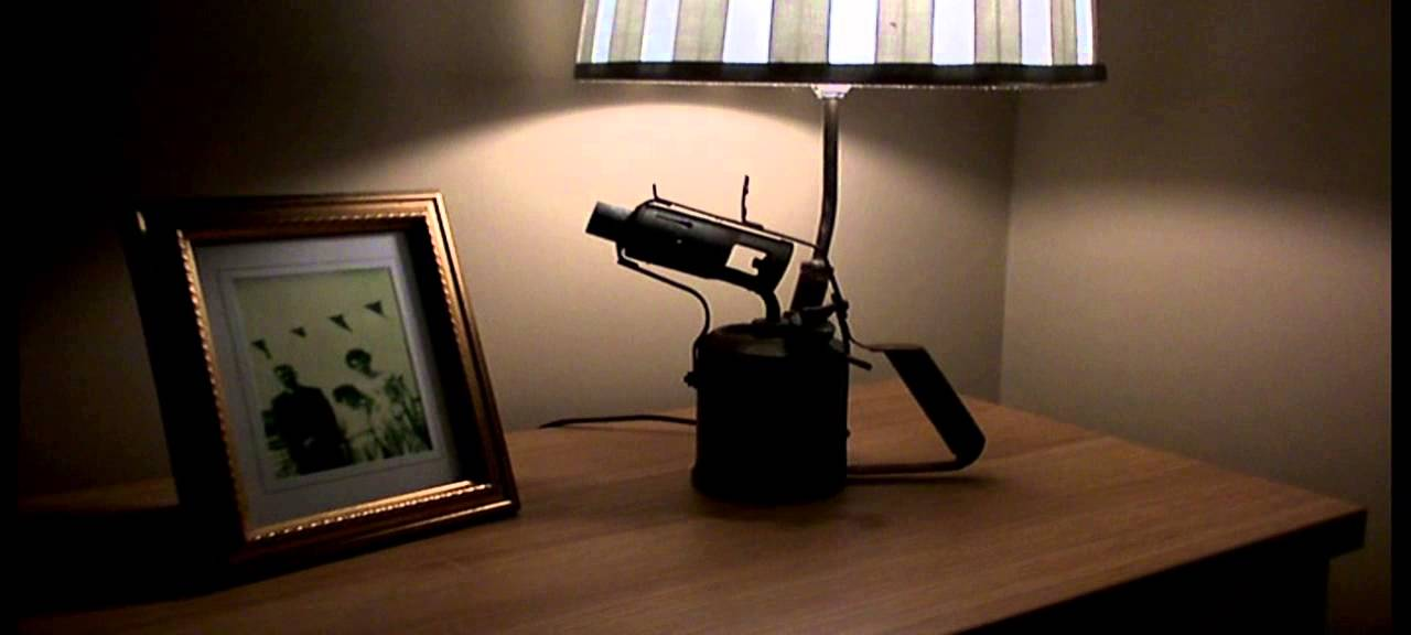 VINTAGE OPTIMUS 411 BLOW TORCH LAMP UPCYCLED INTO A TOUCH TABLE LIGHT DESK  LAMP