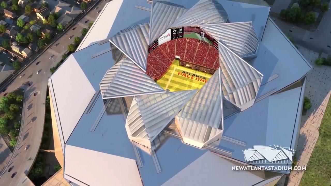 Atlanta 39 s new mercedes benz stadium has a retractable roof for Mercedes benz stadium roof