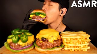 ASMR CHEDDAR JALAPENO CHEESEBURGER MUKBANG (No Talking) COOKING & EATING SOUNDS | Zach Choi ASMR