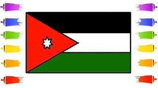 How to Draw Jordan Flag    The National flag of Jordan Color Learn Easily For Kids    Little Channel
