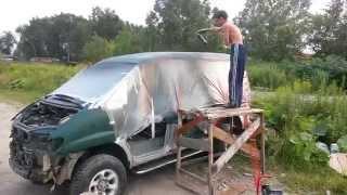 MMC Delica - покраска кузова Раптором(Покраска кузова своими руками в гараже - Раптором., 2015-08-19T05:00:20.000Z)