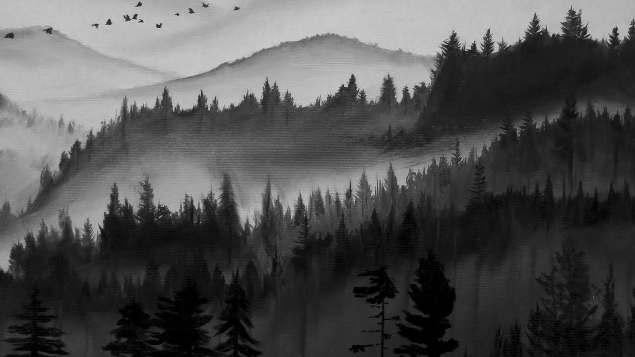 Black and white forest painting timelapse