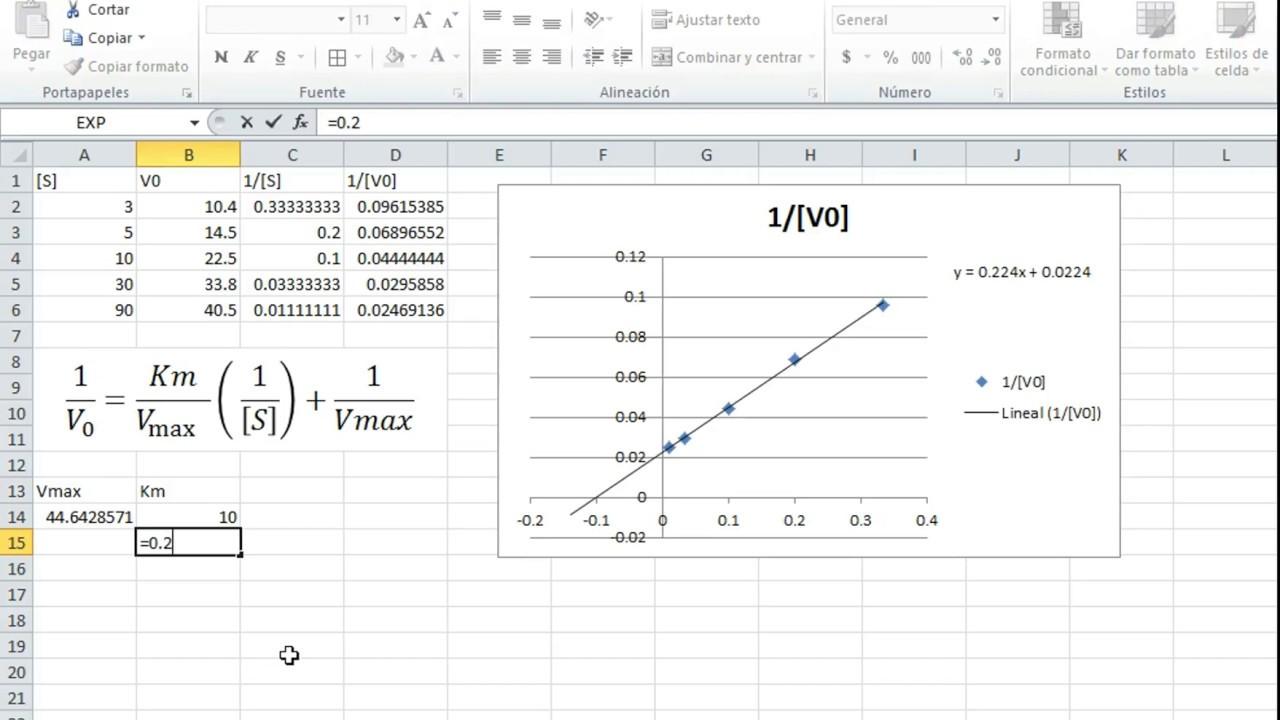 Cinética Enzimática | Diagrama de Lineweaver-Burk en Excel - YouTube