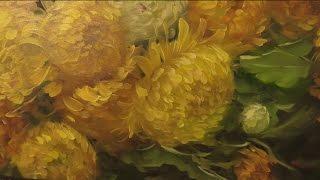 Как написать хризантемы. Живопись маслом по тёмному акриловом у грунту. How to draw a chrysanthemum