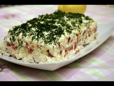 Как приготовить сочный, вкусный, пикантный слоёный салат с брынзой.  Домашний ресторан®
