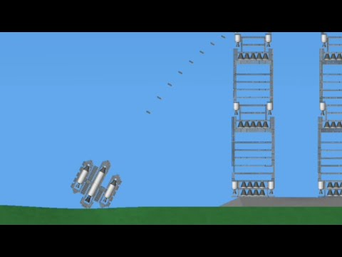 Destroying 2 towers with a fighter rocket | Spaceflight Simulator