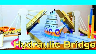 Launching first on youtube: DIY hydraulic pull up bridge tutorial from cardboard | Science project