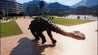 Ankylosaurus & T-Rex Breakout & Fight! Jurassic World Evolution (1080p 60FPS)