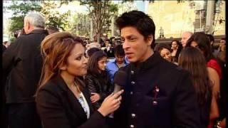 Shahrukh Khan with BBC News presenter Tasmin Lucia Khan at World Premiere of Raavan