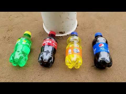 Coca Cola, Different Fanta, Mtn Dew, Pepsi,Sprite and Toy snake vs Mentos in Big Underground