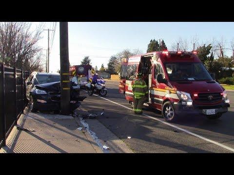 Vehicle Vs. Pole - Sacramento Metro Fire District, County Sheriff & CHP Responding & On Scene
