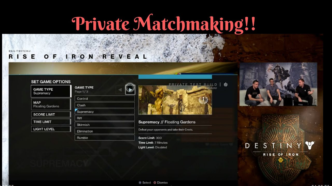 destiny matchmaking page