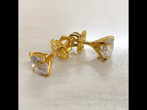 Diamond Solitaire 14kt Yellow Gold Stud Earrings for Women by IskiUski