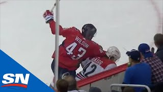 Tom Wilson Sends Greg McKegg To Locker Room With High Elbow