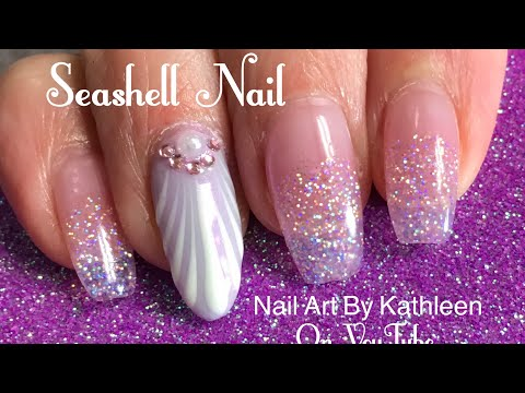 Seashell Nail Art Using Gel Polish And Chrome Powder - My Vacation Nails