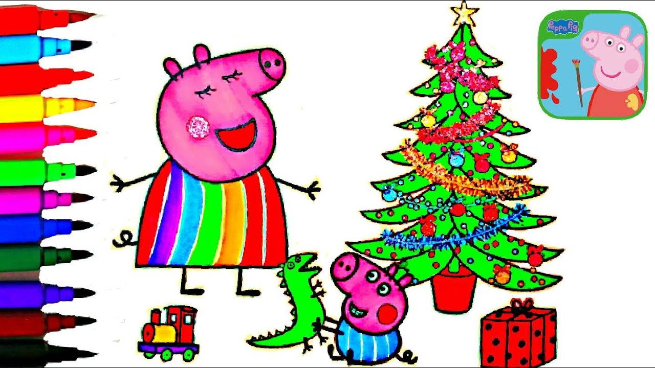 PEPPA PIG Coloring Book Pages Mummy Pigs Christmas Tree Kids Fun Art Videos Balloons Toys