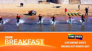 RNLI at Exmouth Beach on BBC Breakfast - Live Drone Shots
