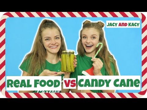 Real Food vs Candy Cane Challenge ~ Jacy and Kacy