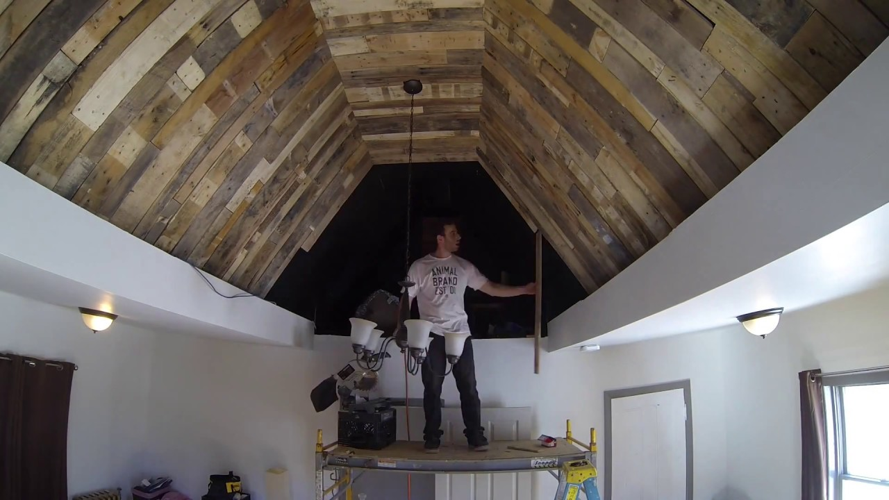 Pallet wood ceiling install time lapse - YouTube