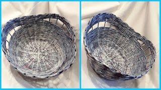 Плетение корзины с декоративными просветами без формы: подробный МК!