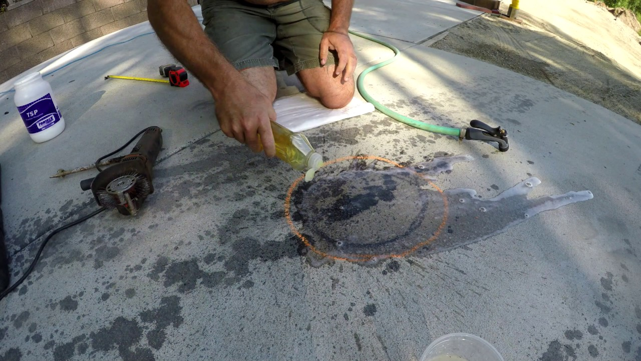 The full monty removing black motor oil stains off gray for Clean oil off concrete