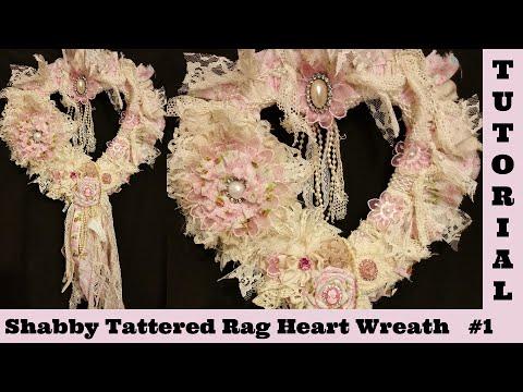 Heart Wreath, Heart Wreath, Wall hanging, lace Wreath,  Shabby Chic Tutorial, tattered rag  Diy 1