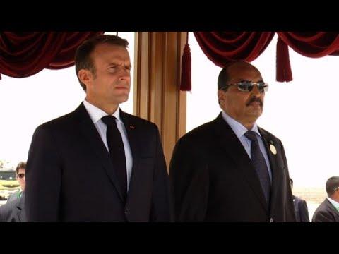 French President Macron arrives in Mauritania for G5 Sahel talks