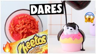 EXTREME SLIME & SQUISHY DARES?! *making hot CHEETOS slime*