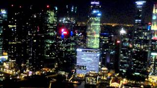 Сингапур, Марина Бэй Сэндс. Singapure, Marina Bay Sands. Вид с бассейна на 57 этаже.(Шикарная панорама с бассейна на крыше отеля